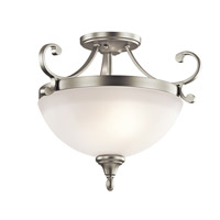 Monroe LED 17 inch Brushed Nickel Semi Flush Mount Ceiling Light