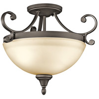 Kichler 43169OZ Monroe 2 Light 17 inch Olde Bronze Semi-Flush Mount Ceiling Light