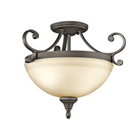 Monroe LED 17 inch Olde Bronze Semi Flush Mount Ceiling Light