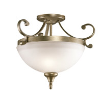 Monroe 2 Light 17 inch Sterling Gold Semi Flush Ceiling Light