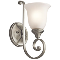 Kichler 43170NI Monroe 1 Light 6 inch Brushed Nickel Wall Bracket Wall Light in Satin Etched Glass
