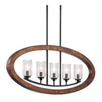 Grand Bank 5 Light 36 inch Auburn Stained Finish Linear Chandelier Ceiling Light