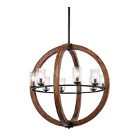Grand Bank 8 Light 28 inch Auburn Stained Finish Chandelier Ceiling Light