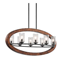 Grand Bank 8 Light 36 inch Auburn Stained Finish Linear Chandelier Ceiling Light
