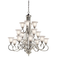 Kichler 43192NI Monroe 16 Light 45 inch Brushed Nickel Chandelier Ceiling Light