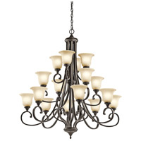 Kichler 43192OZL18 Monroe LED 45 inch Olde Bronze Chandelier Multi Tier Ceiling Light in Light Umber Etched