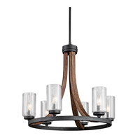 Kichler Grand Bank 6 Light Chandelier 1 Tier Medium in Auburn Stain 43193AUB