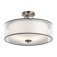Kichler 43194AP Tallie 3 Light 18 inch Antique Pewter Semi Flush Mount Ceiling Light