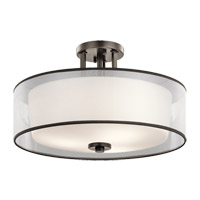 Kichler 43194MIZ Tallie 3 Light 18 inch Mission Bronze Semi Flush Mount Ceiling Light