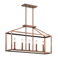 Kichler Archibald 5 Light Chandelier Linear (Single) in Antique Copper 43217ACO