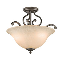Kichler 43232OZ Camerena 3 Light 18 inch Olde Bronze Semi-Flush Mount Ceiling Light