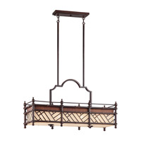 Kichler Lighting Rum Cove 4 Light Rectangular Linear Chandelier in Cayman Bronze 43247CYZ