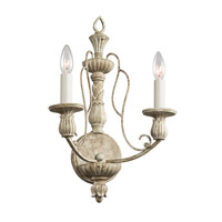 Kichler Lighting Hayman Bay 2 Light Wall Bracket in Distressed Antique White 43263DAW