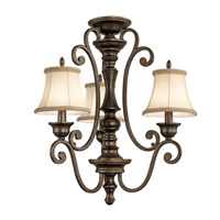 Kichler Lighting Mithras 3 Light Convertible Semi Flush Chandelier in Terrene Bronze 43278TRZ alternative photo thumbnail