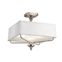 Kichler 43309CLP Arlo 3 Light 15 inch Classic Pewter Semi Flush Mount Ceiling Light