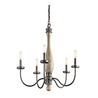 Evan 5 Light 24 inch Distressed Antique Gray Chandelier Ceiling Light