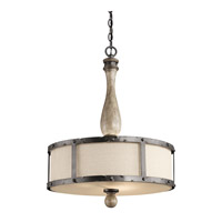 Kichler Lighting Evan 3 Light Pendant in Distressed Antique Gray 43323DAG