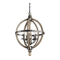 Evan 5 Light 20 inch Distressed Antique Gray Chandelier Ceiling Light