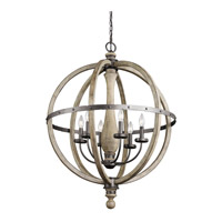 Evan 6 Light 29 inch Distressed Antique Gray Chandelier 1 Tier Large Ceiling Light