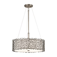 Kichler 43346CLP Silver Coral 3 Light 18 inch Classic Pewter Pendant Convertible Semi-Flush Ceiling Light