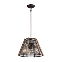 Kichler 43352RT Calleis 3 Light 16 inch Rust Pendant Convertible Semi-Flush Ceiling Light