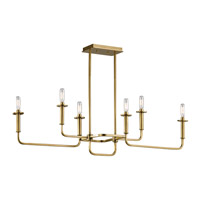 Alden 6 Light 11 inch Natural Brass Chandelier Ceiling Light
