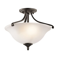 Kichler 43406OZ Wellington Square 2 Light 17 inch Olde Bronze Semi-Flush Ceiling Light