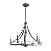 Kichler Clague 5 Light Chandelier in Distressed Black 43419DBK