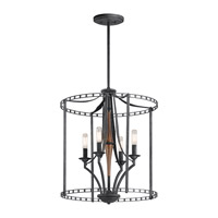 Clague 4 Light 18 inch Distressed Black Foyer Pendant Ceiling Light