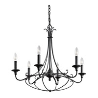 Kichler Basel 6 Light Chandelier 1 Tier Medium in Distressed Black 43454DBK