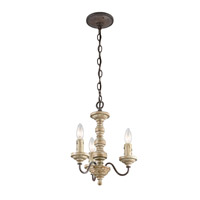 Kichler Briellis 3 Light Chandelier Convertible Semi-Flush in Vintage Weathered White 43469VWW