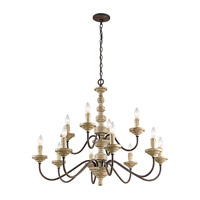 Kichler Briellis 12 Light Chandelier in Vintage Weathered White 43473VWW