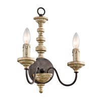 Kichler Briellis 2 Light Wall Sconce in Vintage Weathered White 43475VWW
