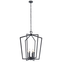 Kichler 43495BK Abbotswell 6 Light 25 inch Black Foyer Pendant Ceiling Light, Large