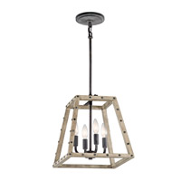 Kichler Basford 4 Light Indoor Lantern Pendant in Distressed Antique Gray 43519DAG