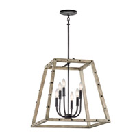 Kichler Basford 6 Light Indoor Lantern Pendant in Distressed Antique Gray 43520DAG
