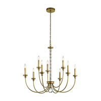 Kichler Rossington 9 Light Chandelier in Natural Brass 43545NBR