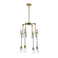 Kichler 43587NBR Rumer 4 Light 18 inch Natural Brass Mini Chandelier Ceiling Light