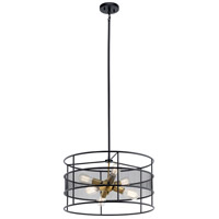 Piston 6 Light 22 inch Black Chandelier Ceiling Light, Round