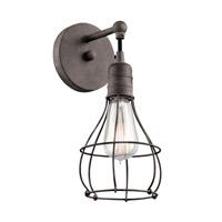 Kichler 43603wzc Industrial Cage 1 Light 6 Inch Weathered Zinc Wall Bracket Wall Light