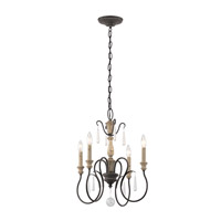 Kichler Kimberwick 4 Light Mini Chandelier in Weathered Zinc 43615WZC