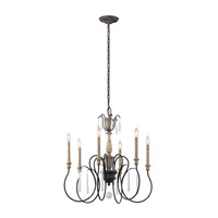 Kichler 43617WZC Kimblewick 6 Light 26 inch Weathered Zinc Chandelier Ceiling Light