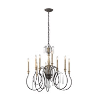 Kichler Kimberwick 9 Light Chandelier in Weathered Zinc 43618WZC