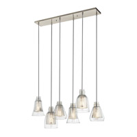 Evie 6 Light 10 inch Brushed Nickel Chandelier Linear (Double) Ceiling Light