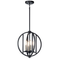 Kichler 43642BK Samural 4 Light 14 inch Black Mini Chandelier Ceiling Light