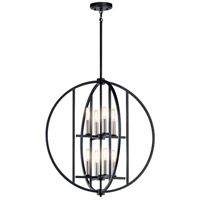 Kichler 43643BK Samural 8 Light 25 inch Black Chandelier Ceiling Light, Medium