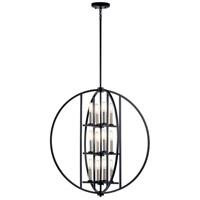Samural 12 Light 28 inch Black Chandelier Ceiling Light