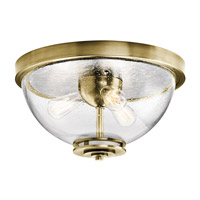 Silberne 3 Light 18 inch Natural Brass Flush Mount Ceiling Light