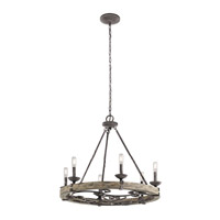 Kichler 43823WZC Taulbee 6 Light 29 inch Weathered Zinc Chandelier Ceiling Light