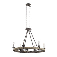 Kichler 43824WZC Taulbee 6 Light 18 inch Weathered Zinc Chandelier Ceiling Light